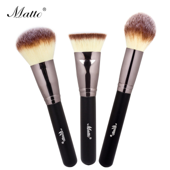 Matto 3pcs Makeup Brushes Set Powder Blush Foundation Contour Brush for Makeup Beauty Make Up Tools (Black) - Intl