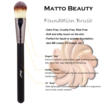 Matto Foundation Makeup Brush for Wet/Dry Foundation Liquid BB Cream Beauty Cosmetics Make Up Tools 1pcs (Black) - Intl