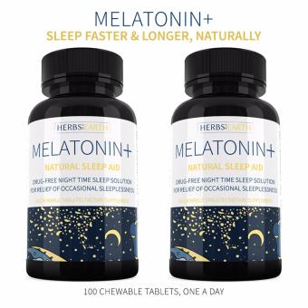 Melatonin + Sleep Faster & Longer 2 Bottles, 3MG Fast ActingChewable Tablets, For Insomniacs or Stress Induced Sleeplessness,100 Chewable Tablets