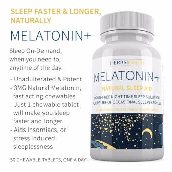 Melatonin+ Sleep Faster & Longer, 3MG Fast Acting Chewable Tablets, For Insomniacs or Stress Induced Sleeplessness, 50 Chewable Tablets