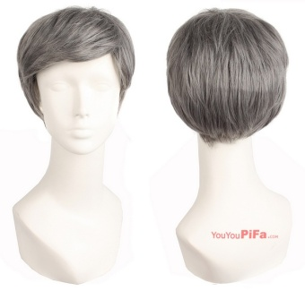 Middle Age Wig Man Wig Silver Gray High Temperature Silk ObliqueLiuhai Short Hair Show Props Set 61138 (color: Black + White) -intl