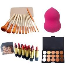 12pcs Brush Gold with Blender Sponge with 15 Concealer Palette and  Ashley Shine Matte Lipsticks 12pcs (Multicolor) Philippines
