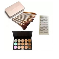 12pcs Brush (Gold) with Taiwan False Eyelashes and 15 Concealer Palette Philippines