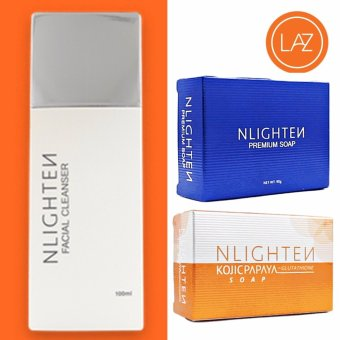 Nlighten Acne Solution ( Nlighten Kojic Papaya Soap withGlutathione, Nlighten Facial Cleanser, Nlighten Premium Soap )