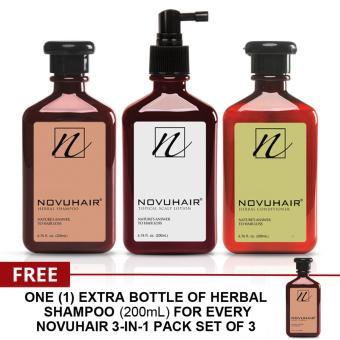 NOVUHAIR 3-IN-1 PACK FOR MEN & WOMEN PLUS FREE SHAMPOO 200ML
