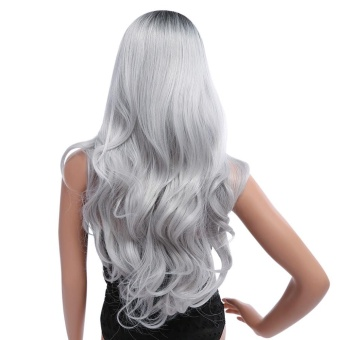 Ombre Long Black Mixed Grey Wigs Heat Resistant Synthetic Hair for Women - intl - 4
