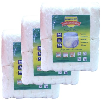 Pharmaline Adult Diapers Brief M 20's pack of 3 Price Philippines