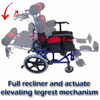 Phoenixhub High quality Cerebral Palsy Multi Functional Heavy Duty stainless steel Rehab Wheelchair small size (lBLUE) FS958L - 4
