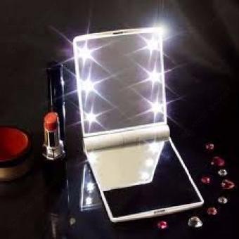 Pocket Makeup Mirror With LED Light (White) - 4