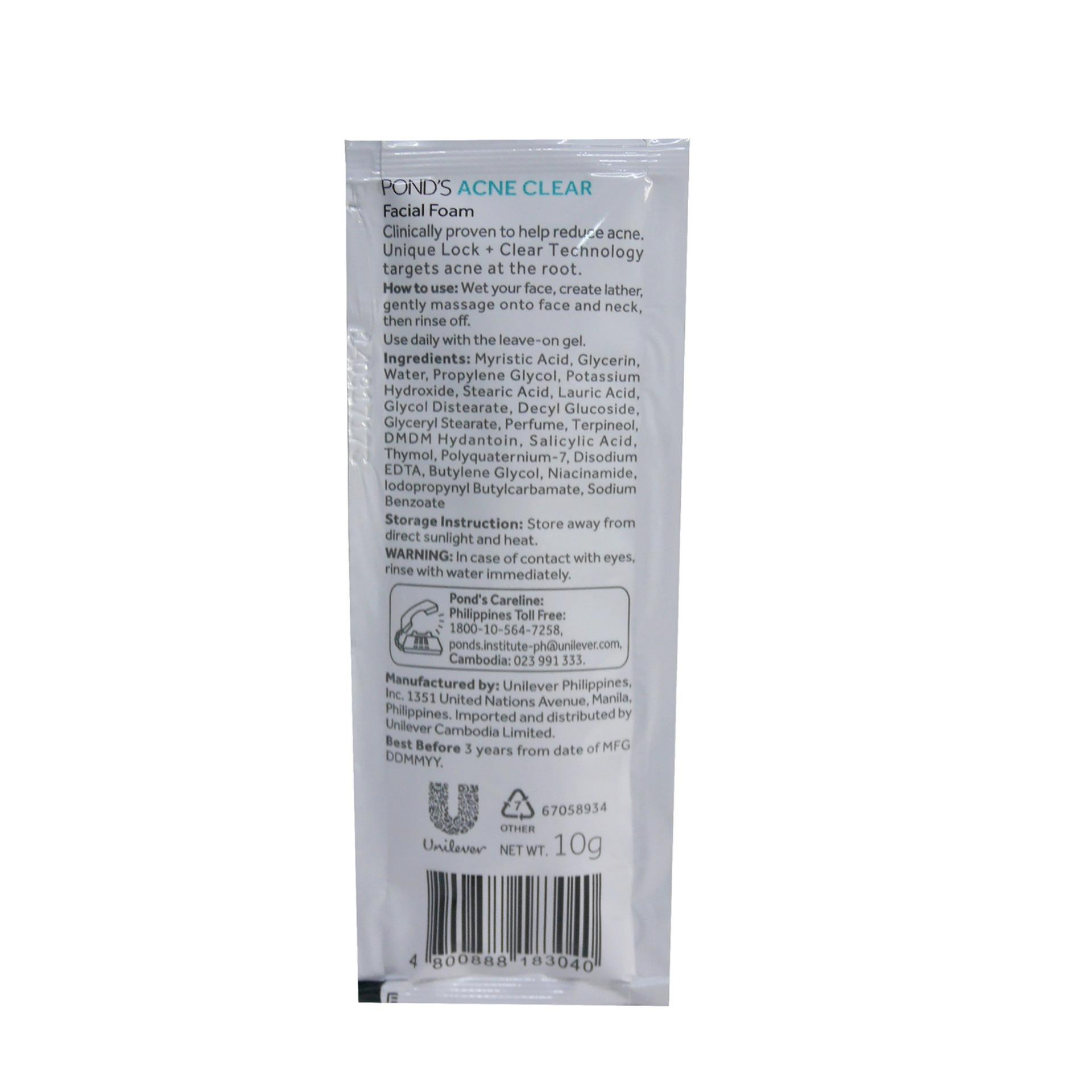 Philippines Ponds Facial Foam Acne Clear 10g 183040 12s 1 Box Men Solution Gel 20 Gr