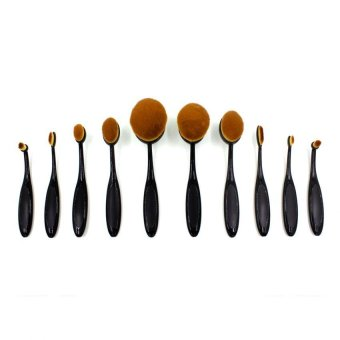 Pop Art 10 Pieces Professional Toothbrush Shape Oval Make-Up Brush Set (Black)
