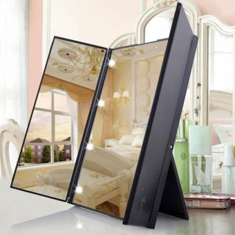 Portable Tri-Fold Makeup Mirror Cosmetic Mirror With Led Light -intl