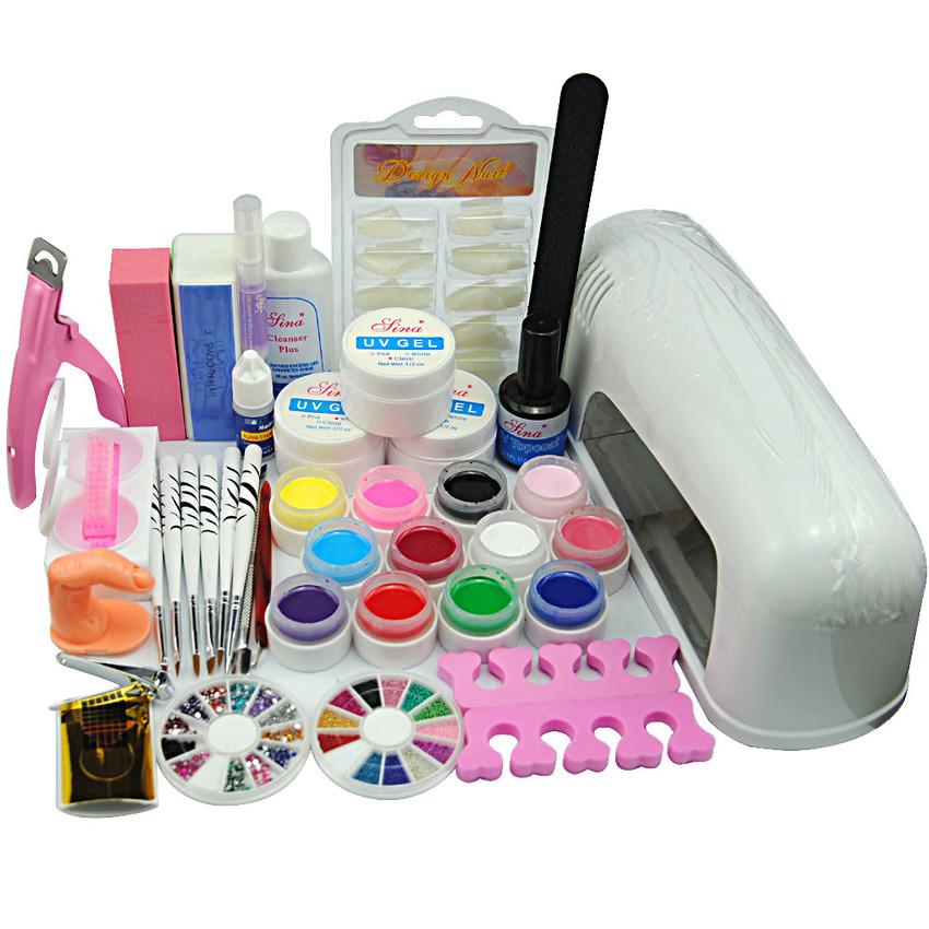 Pro 9W UV Lamp 12 Color UV Gel Nail Polishes nail kit Tools ...