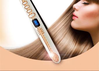 Professional Pro Ceramic Tourmaline Anion Perm Hair StraightenerDigital Iron (Gold) - intl - 2