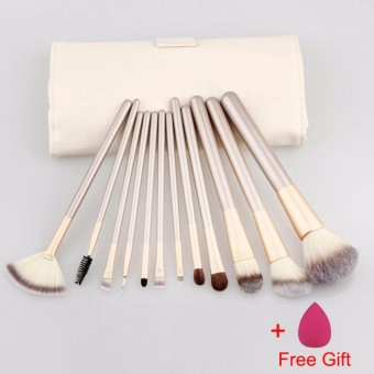 Professional Soft 12pcs Makeup Brushes Set Foundation Eyeshadow Blush Kits with Leather Bags Wooden handle high quality make up brush set Cosmetic Tools - intl