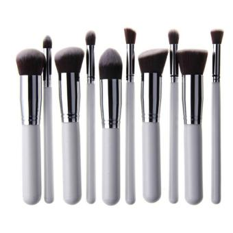Professional Soft Make Up Brush Set of 10 (Kabuki-White/Silver)