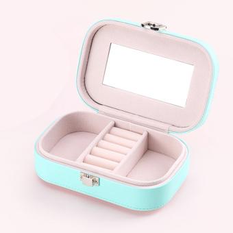PU Leather Jewelry Storage Box Case Organizer Make-up Mirror Cyan - 4