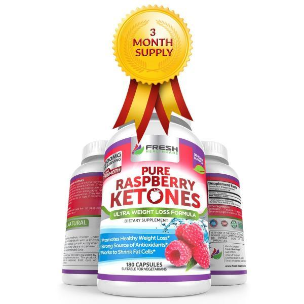 Pure 100% Raspberry Ketones MAX 1000mg Per Serving aoe(R) 3 MONTHSUPPLY aoe(R) Powerful Weight Loss Supplement aoe(R) Provides EnergyBoost for Weight Loss aoe(R) 180 Capsules by Fresh Healthcare