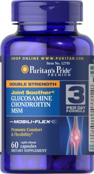 PURITAN Double Strength Glucosamine, Chondroitin & MSM Joint Soother(R) 60 caplets