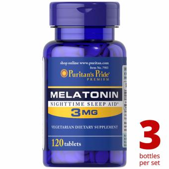 Puritan's Pride Melatonin 3mg 120 tablets Set of 3 Bottles