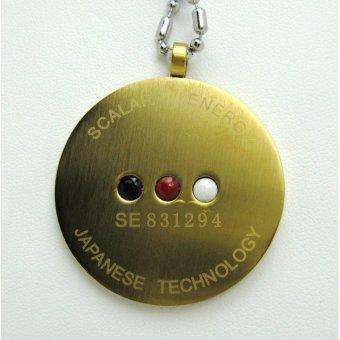 Quantum Pendant Gold Scalar Negative Ions Energy EMF Protection Set