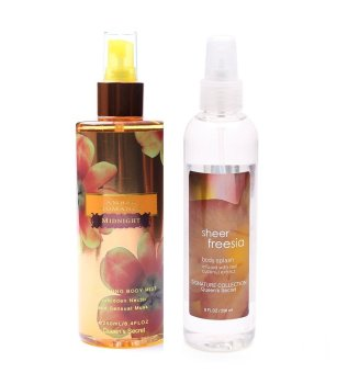 Queen's Secret Amber Romance Midnight Body Mist 250ml with Queen's Secret Sheer Freesia Body Mist 236ml Bundle