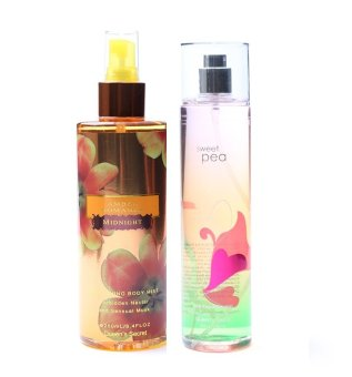 Queen's Secret Amber Romance Midnight Body Mist 250ml with Queen's Secret Sweet Pea Fine Fragrance Mist 236ml Bundle
