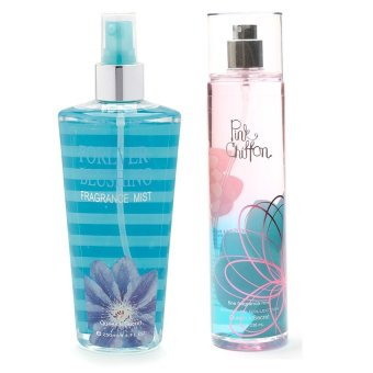 Queen's Secret Forever Blushing Fragrance Mist for Women 250ml with Queen's Secret Pink Chiffon Fine Fragrance Mist for Women 236ml Bundle