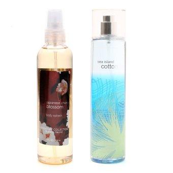 Queen's Secret Japanese Cherry Blossom Body Splash 236ml with Queen's Secret Sea Island Cotton Fine Fragrance Mist 236ml Bundle