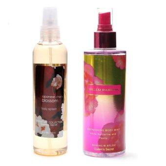 Queen's Secret Japanese Cherry Blossom Body Splash 236ml with Queen's Secret Hello Darling Body Mist 250ml Bundle