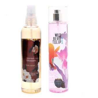 Queen's Secret Japanese Cherry Blossom Body Splash 236ml with Queen's Secret Wild Berry Tulips Fragrance Mist for Women 236ml Bundle