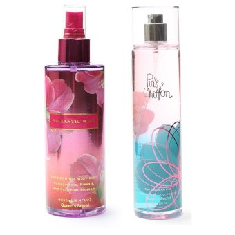 Queen's Secret Romantic Wish Body Mist for Women 250ml with Queen's Secret Pink Chiffon Fine Fragrance Mist for Women 236ml Bundle