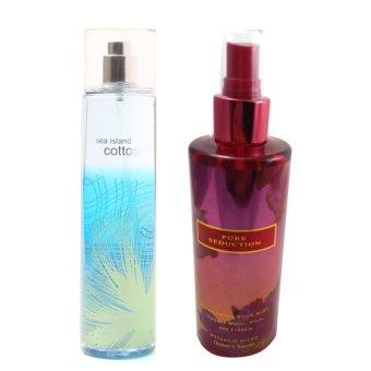 Queen's Secret Sea Island Cotton Fine Fragrance Mist 236ml with Queen's Secret Pure Seduction Fragrance Mist for Women 250ml Bundle