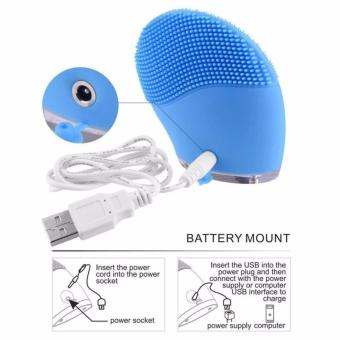 Rechargeable Waterproof Vibrating Facial Cleansing Brush (Blue) - 5
