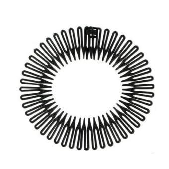 Round Flexible Headband Hair Comb - Essential Round Flexible hair comb headband Set of 6 (Black) - 2