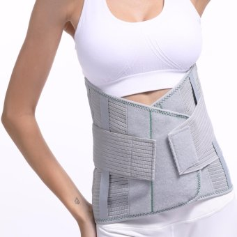 (Size M) High Back Brace Waist Belt Spine Support Men Women BeltsBreathable Lumbar Corset Orthopedic Back Support - intl