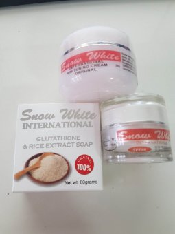 Snow White International Whitening Cream 30g with Sun Protection SPF60 and Gluta Soap Bundle
