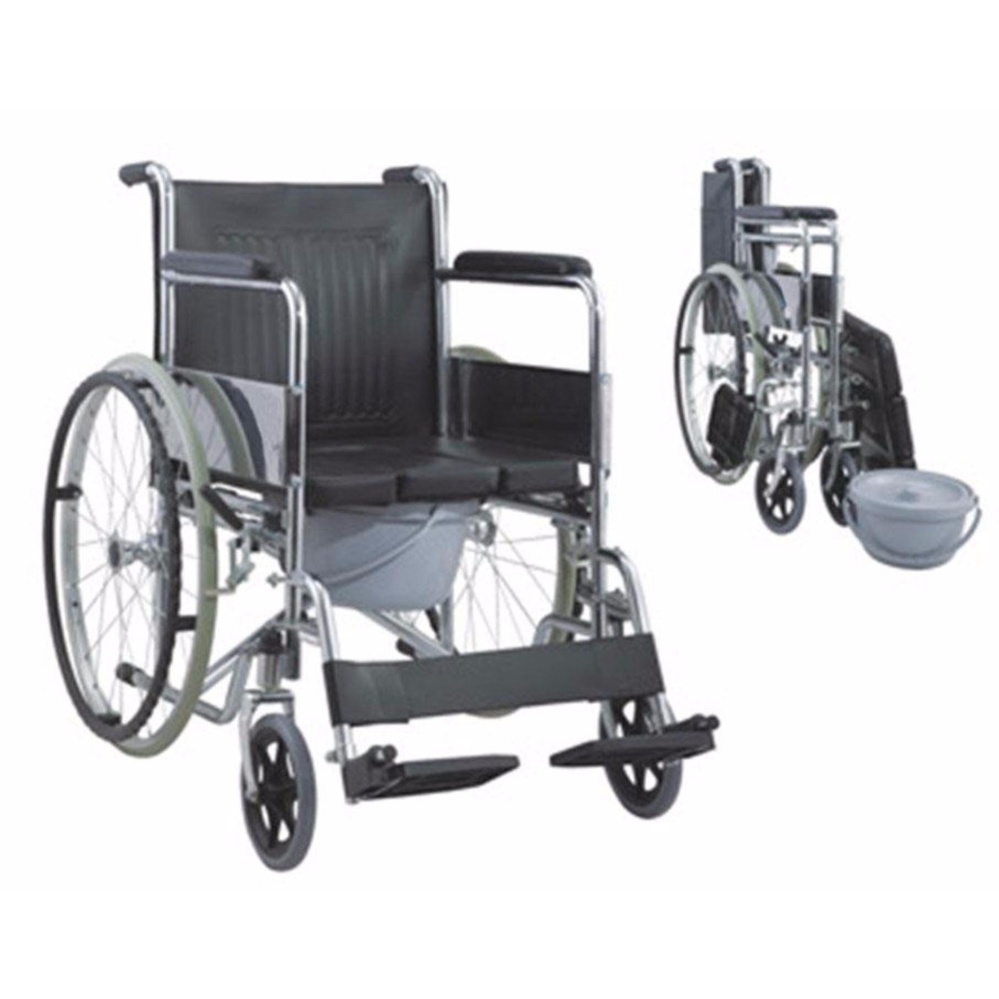 Taiwan Heavy Duty Chrome Wheelchair with Commode attachment (Silver)