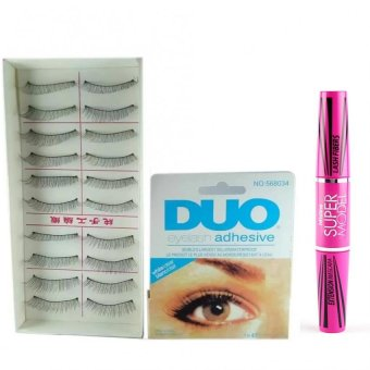 Taiwan Natural Black Long False Eyelashes #217 (10 Pairs) with DuoEyelash Adhesive and Mistine Super Model Miracle Lash Mascara