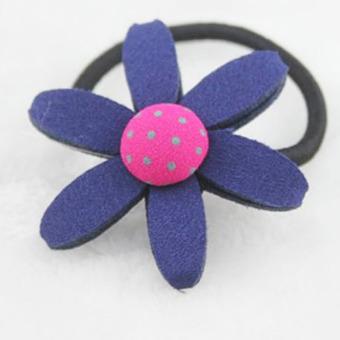 Velishy Sun Flower Hair Rope Children Elastic Navy Blue