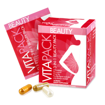 VITAPACK 3-in-1 Beauty Pack Whitening Glutathione Slimming Antiaging Supplement Box of 10 Sachets (30 caps)