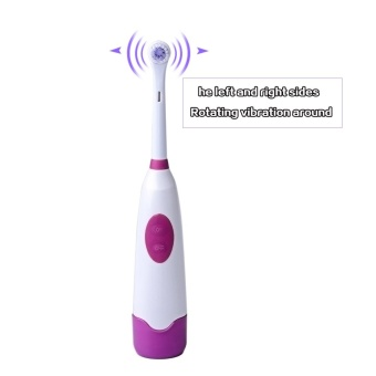 Waterproof Health Battery Operated Rotary Electric Toothbrush with 2pcs Tooth Brush Heads Oral Hygiene Dental Care for Adult Kids (Purple) - intl - 4