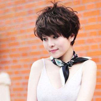 Women Hair Wig New Stylish Short Fluffy Short Curly Dark Brown Lady Full Wig - 4