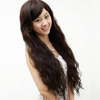Women Long Curly Hair Wig Corn Perm Fluffy Curly Hair Wig ObliqueBangs Wig - intl