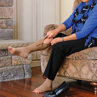 Zipper Compression Socks Zip Leg Support Knee Stockings Sox Open Toe L/XL Black C583 - 4
