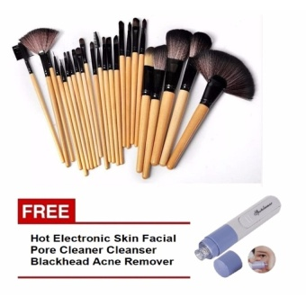 Zover Make-up Brush Set of 24 (Black) with FREE Hot Electronic SkinFacial Pore Cleaner Cleanser Blackhead Spot Zit Acne Remover