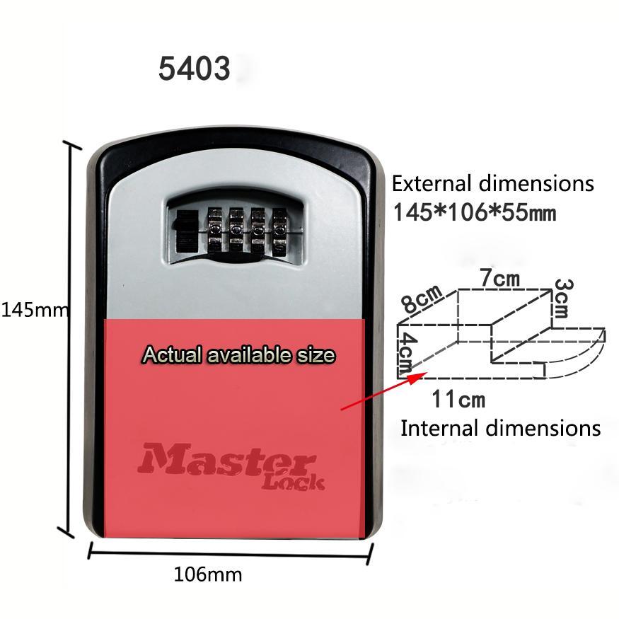 Master Lock Key Safe Box Wall Mount Combination Password Lock Metal Alloy  Garage Factory Outdoor Keys Storage Box Security Safes