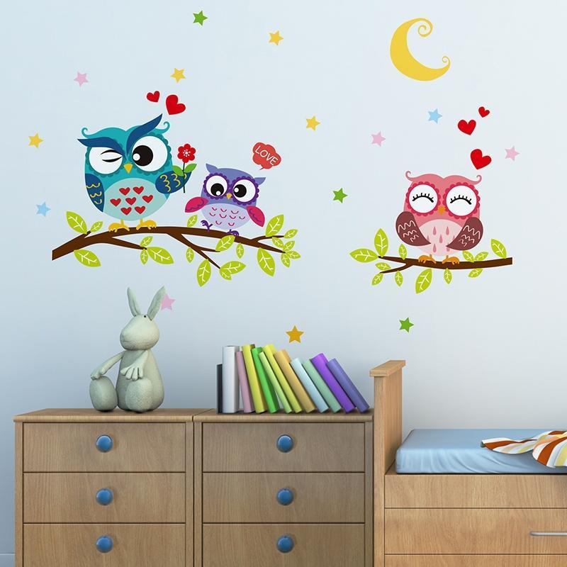 Cartoon Animal Owl Wall Sticker