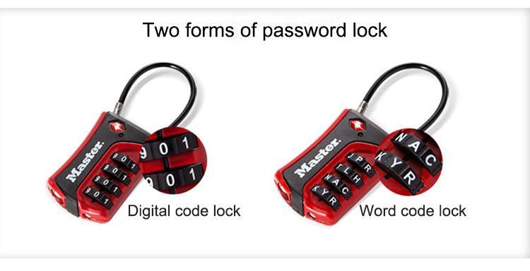 Master Lock TSA Luggage Lock WORD Numeric Combination Password Locks for  Travel Luggage Suitcase Code Padlock Customs Lock
