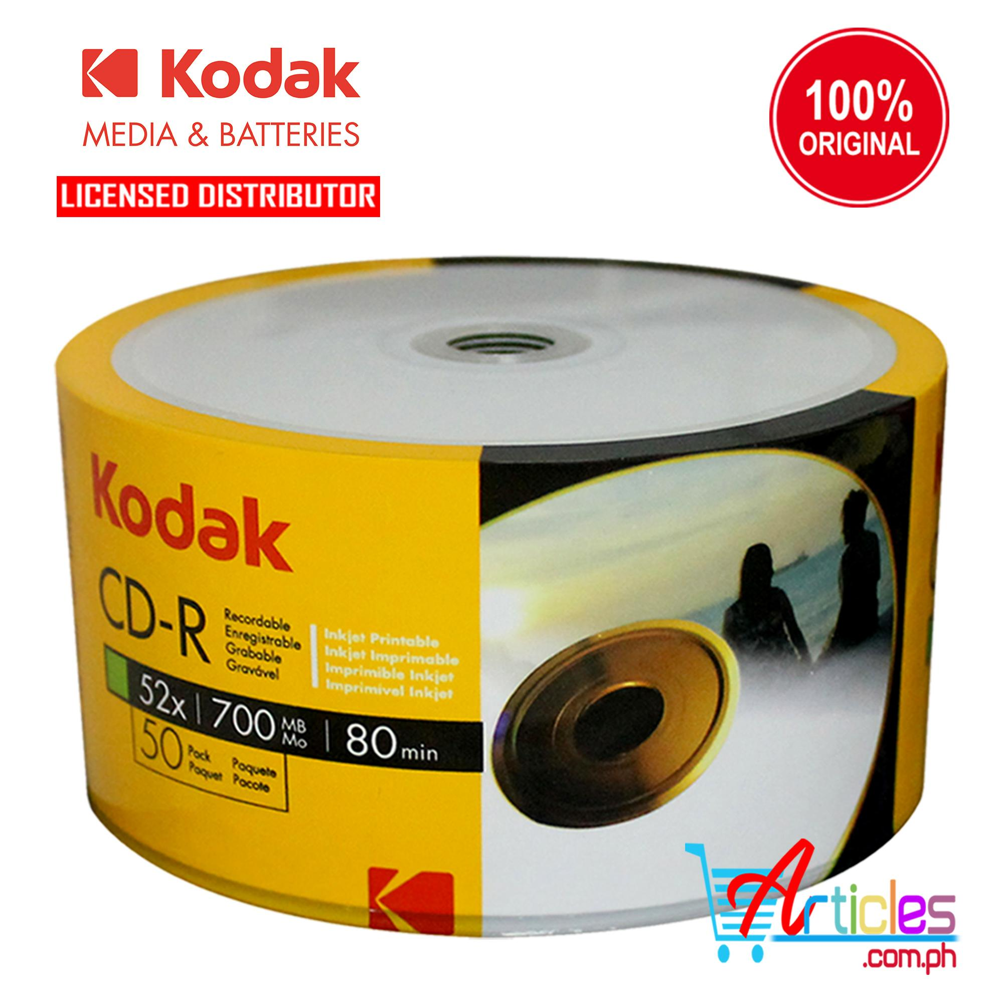 picture regarding Printable Blank Cds named Kodak CD-R CDR CD R 700MB Inkjet Printable Blank CD (White) 50 Elements